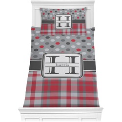 Red & Gray Dots and Plaid Comforter Set - Twin XL (Personalized)