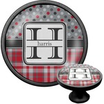 Red & Gray Dots and Plaid Cabinet Knob (Black) (Personalized)