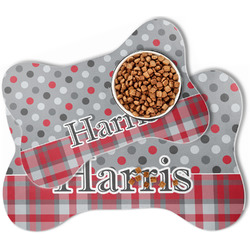 Red & Gray Dots and Plaid Bone Shaped Dog Food Mat (Personalized)