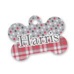Red & Gray Dots and Plaid Bone Shaped Dog ID Tag (Personalized)
