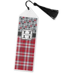 Red & Gray Dots and Plaid Book Mark w/Tassel (Personalized)