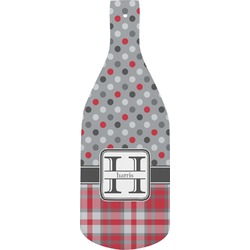 Red & Gray Dots and Plaid Bottle Shaped Cutting Board (Personalized)