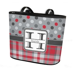Red & Gray Dots and Plaid Bucket Tote w/ Genuine Leather Trim (Personalized)