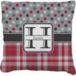 Red & Gray Dots and Plaid Faux-Linen Throw Pillow (Personalized)