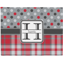 Red & Gray Dots and Plaid Woven Fabric Placemat - Twill w/ Name and Initial