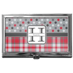 Red & Gray Dots and Plaid Business Card Holder