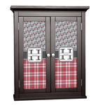 Red & Gray Dots and Plaid Cabinet Decal - Custom Size (Personalized)
