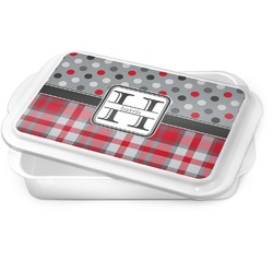 Red & Gray Dots and Plaid Cake Pan (Personalized)