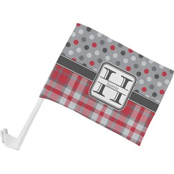 Red & Gray Dots and Plaid Car Flag (Personalized)