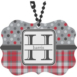 Red & Gray Dots and Plaid Rear View Mirror Charm (Personalized)