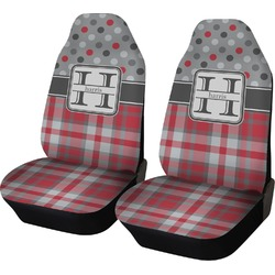 Red & Gray Dots and Plaid Car Seat Covers (Set of Two) (Personalized)