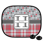 Red & Gray Dots and Plaid Car Side Window Sun Shade (Personalized)
