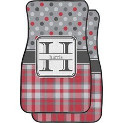 Red & Gray Dots and Plaid Car Floor Mats (Front Seat) (Personalized)