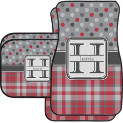 Red & Gray Dots and Plaid Car Floor Mats (Personalized)