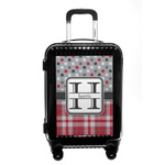 Red & Gray Dots and Plaid Carry On Hard Shell Suitcase (Personalized)
