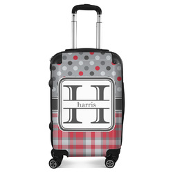 Red & Gray Dots and Plaid Suitcase (Personalized)