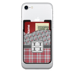 Red & Gray Dots and Plaid 2-in-1 Cell Phone Credit Card Holder & Screen Cleaner (Personalized)