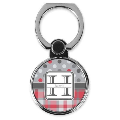 Red & Gray Dots and Plaid Cell Phone Ring Stand & Holder (Personalized)