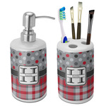 Red & Gray Dots and Plaid Bathroom Accessories Set (Ceramic) (Personalized)