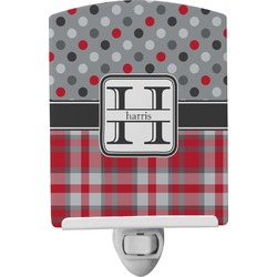 Red & Gray Dots and Plaid Ceramic Night Light (Personalized)