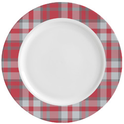 Red & Gray Dots and Plaid Ceramic Dinner Plates (Set of 4) (Personalized)