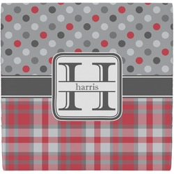 Red & Gray Dots and Plaid Ceramic Tile Hot Pad (Personalized)