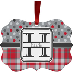 Red & Gray Dots and Plaid Ornament (Personalized)