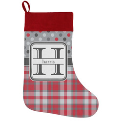 Red & Gray Dots and Plaid Holiday / Christmas Stocking (Personalized)
