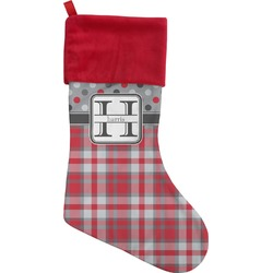 Red & Gray Dots and Plaid Christmas Stocking (Personalized)