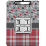 Red & Gray Dots and Plaid Clipboard (Personalized)
