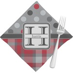 Red & Gray Dots and Plaid Napkins (Set of 4) (Personalized)