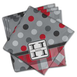 Red & Gray Dots and Plaid Cloth Napkins (Set of 4) (Personalized)
