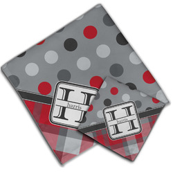 Red & Gray Dots and Plaid Cloth Napkin w/ Name and Initial