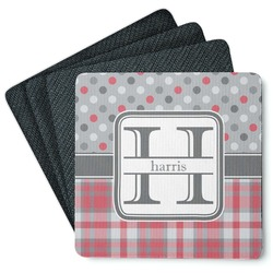 Red & Gray Dots and Plaid 4 Square Coasters - Rubber Backed (Personalized)
