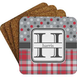 Red & Gray Dots and Plaid Coaster Set (Personalized)