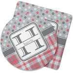 Red & Gray Dots and Plaid Rubber Backed Coaster (Personalized)