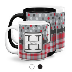 Red & Gray Dots and Plaid Coffee Mugs (Personalized)