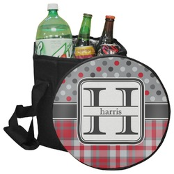 Red & Gray Dots and Plaid Collapsible Cooler & Seat (Personalized)