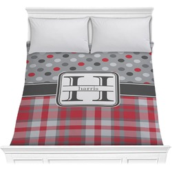 Red & Gray Dots and Plaid Comforter (Personalized)