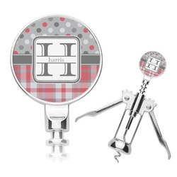 Red & Gray Dots and Plaid Corkscrew (Personalized)