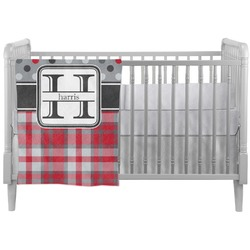 Red & Gray Dots and Plaid Crib Comforter / Quilt (Personalized)