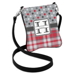 Red & Gray Dots and Plaid Cross Body Bag - 2 Sizes (Personalized)