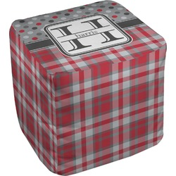 Red & Gray Dots and Plaid Cube Pouf Ottoman (Personalized)