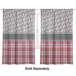"Red & Gray Dots and Plaid Curtains - 40""x84"" Panels - Unlined (2 Panels Per Set) (Personalized)"