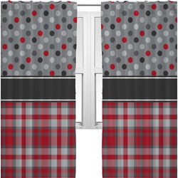 Red & Gray Dots and Plaid Curtains (2 Panels Per Set) (Personalized)