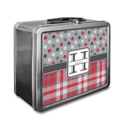 Red & Gray Dots and Plaid Lunch Box (Personalized)
