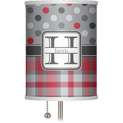 "Red & Gray Dots and Plaid 7"" Drum Lamp Shade (Personalized)"