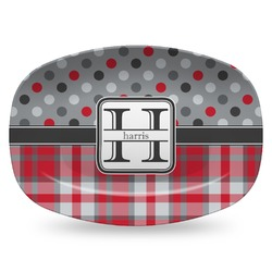 Red & Gray Dots and Plaid Plastic Platter - Microwave & Oven Safe Composite Polymer (Personalized)