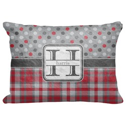"Red & Gray Dots and Plaid Decorative Baby Pillowcase - 16""x12"" (Personalized)"