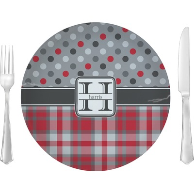 """Red & Gray Dots and Plaid 10"""" Glass Lunch / Dinner Plates - Single or Set (Personalized)"""